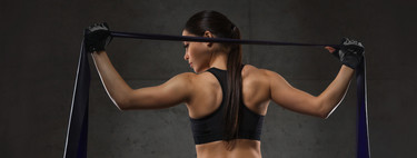 A workout routine with nine exercises that you can do with a rubber band
